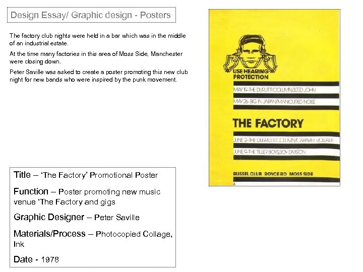 Design Essay/ Graphic design - Posters The factory club nights were held in a