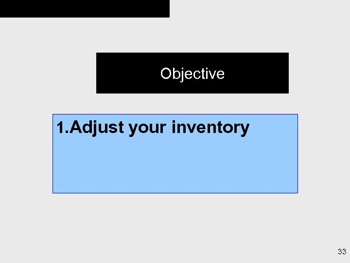 Objective 1. Adjust your inventory 33