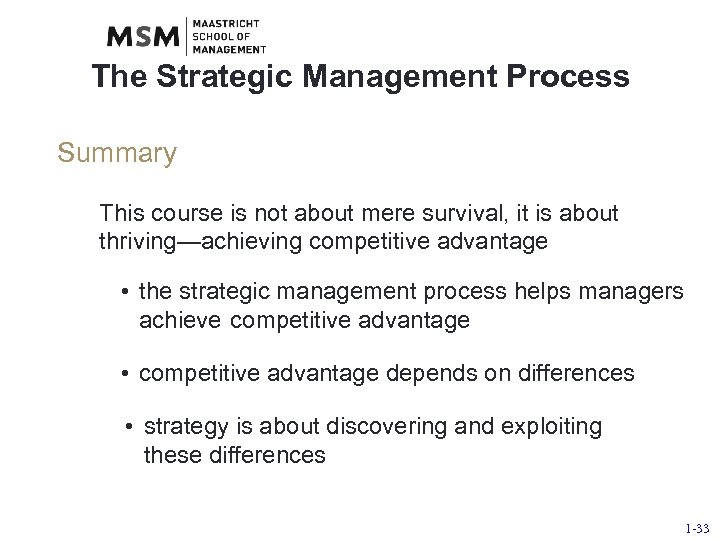 The Strategic Management Process Summary This course is not about mere survival, it is