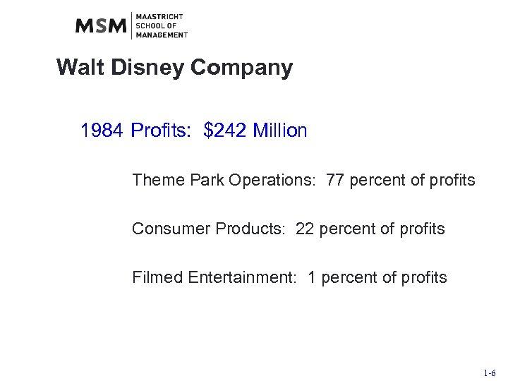 Walt Disney Company 1984 Profits: $242 Million Theme Park Operations: 77 percent of profits