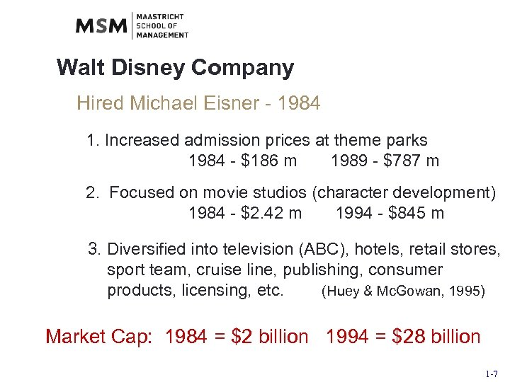 Walt Disney Company Hired Michael Eisner - 1984 1. Increased admission prices at theme