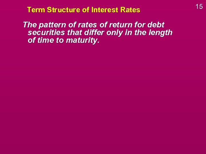 Term Structure of Interest Rates The pattern of rates of return for debt securities