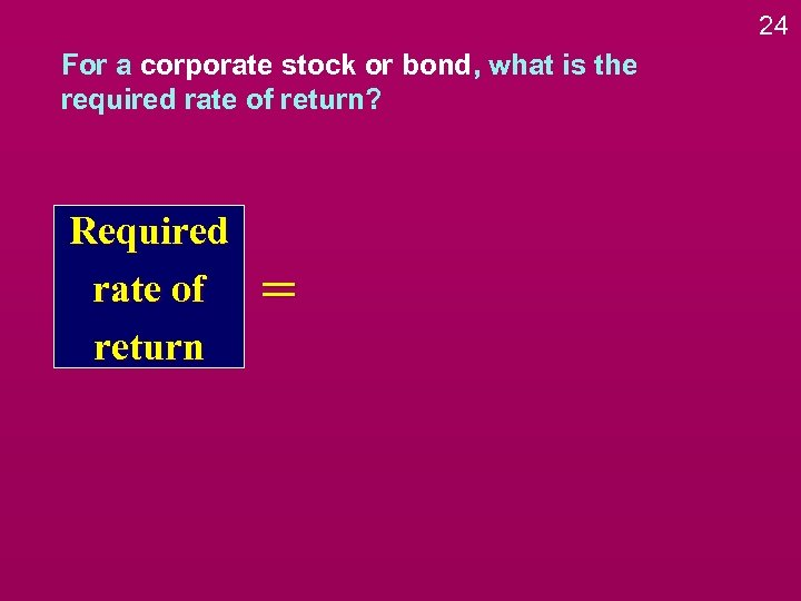 24 For a corporate stock or bond, what is the required rate of return?