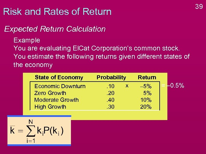 39 Risk and Rates of Return Expected Return Calculation Example You are evaluating El.
