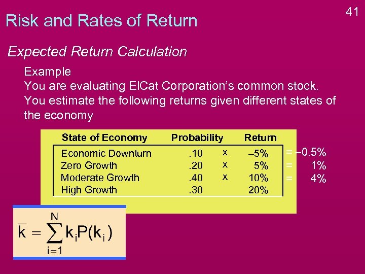 41 Risk and Rates of Return Expected Return Calculation Example You are evaluating El.