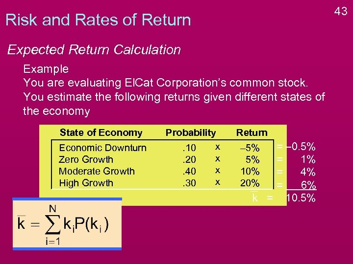 43 Risk and Rates of Return Expected Return Calculation Example You are evaluating El.