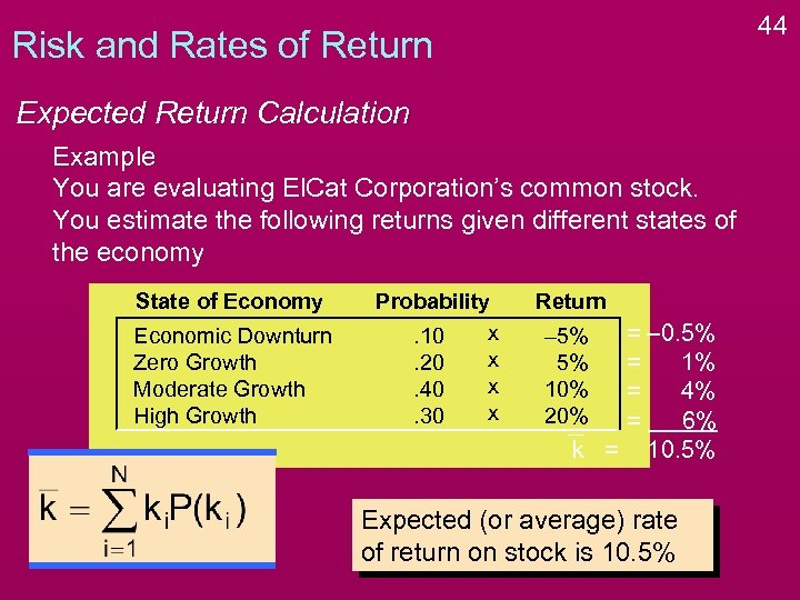 44 Risk and Rates of Return Expected Return Calculation Example You are evaluating El.