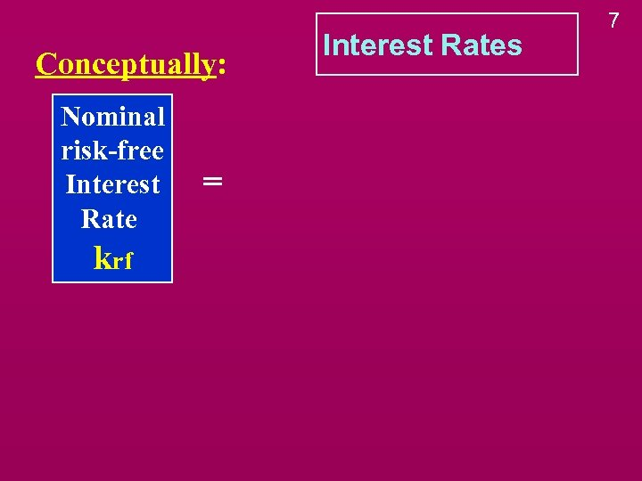 Conceptually: Nominal risk-free Interest Rate krf = Interest Rates 7