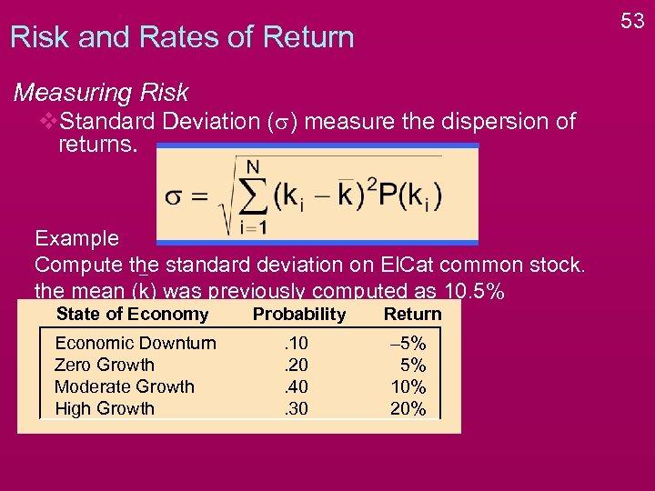 53 Risk and Rates of Return Measuring Risk v. Standard Deviation (s) measure the