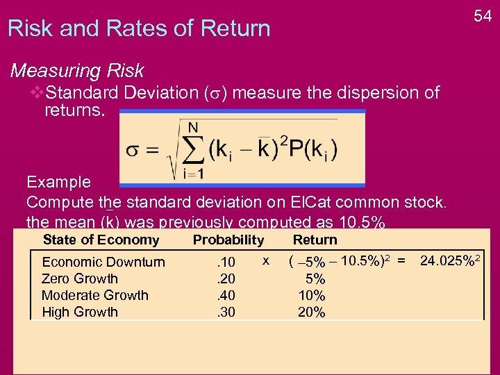 54 Risk and Rates of Return Measuring Risk v. Standard Deviation (s) measure the