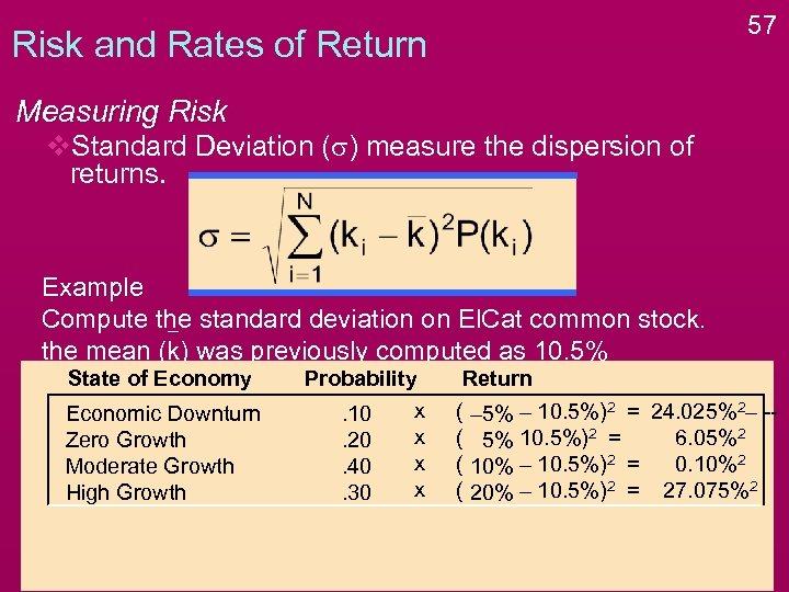 57 Risk and Rates of Return Measuring Risk v. Standard Deviation (s) measure the