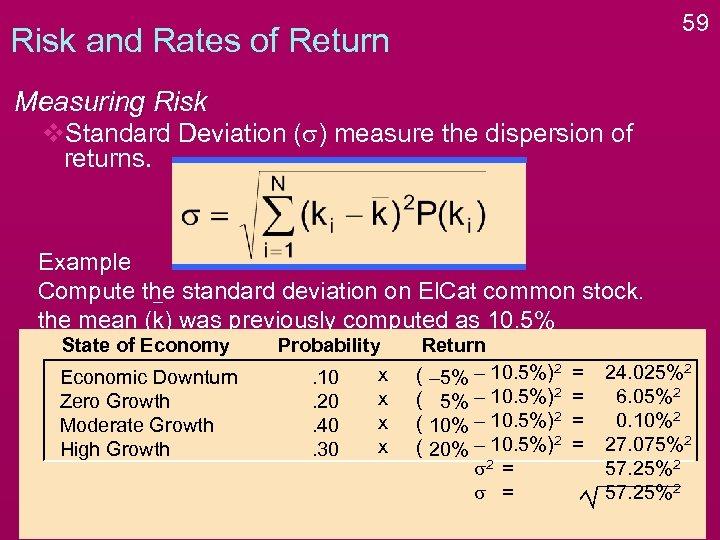 59 Risk and Rates of Return Measuring Risk v. Standard Deviation (s) measure the