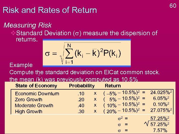 60 Risk and Rates of Return Measuring Risk v. Standard Deviation (s) measure the