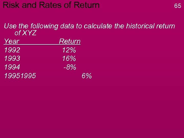 Risk and Rates of Return 65 Use the following data to calculate the historical