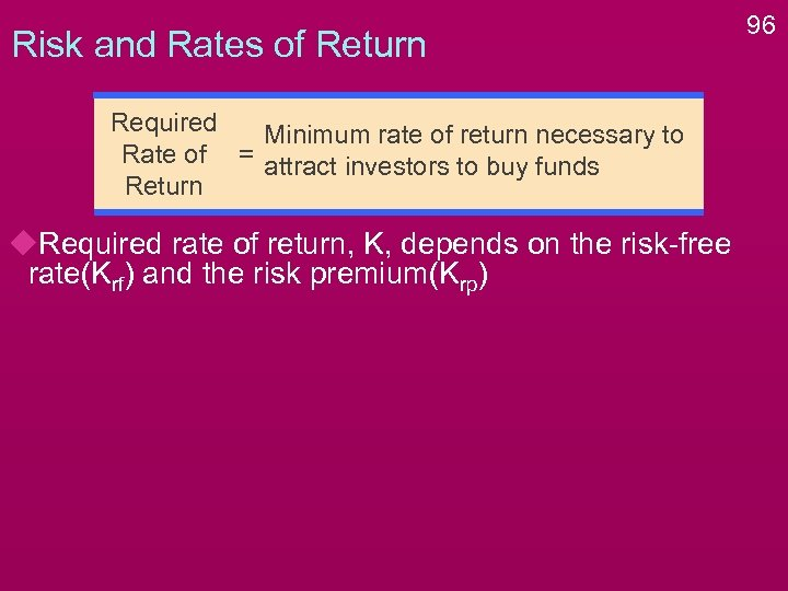 Risk and Rates of Return Required Minimum rate of return necessary to Rate of