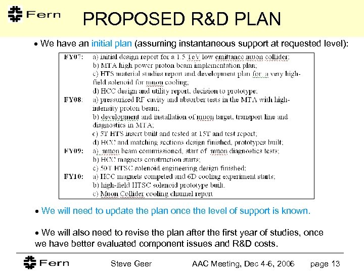PROPOSED R&D PLAN We have an initial plan (assuming instantaneous support at requested level):