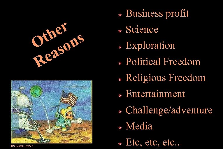 er th ns O so ea R Business profit Science Exploration Political Freedom Religious