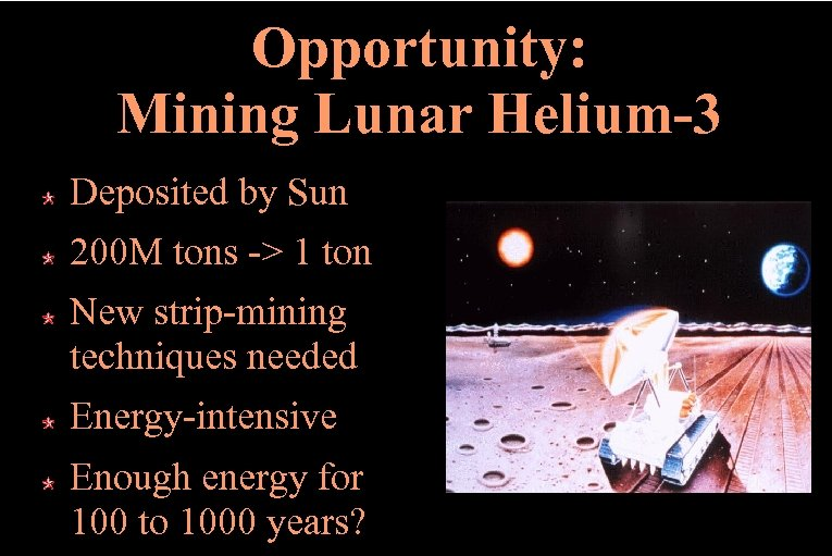 Opportunity: Mining Lunar Helium-3 Deposited by Sun 200 M tons -> 1 ton New