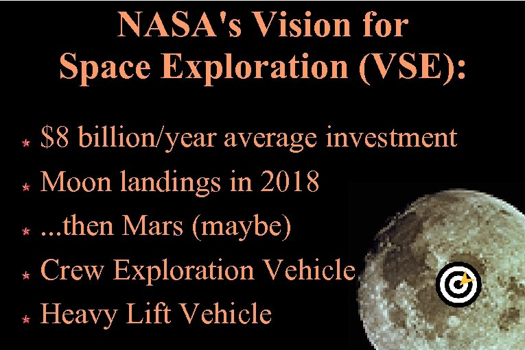 NASA's Vision for Space Exploration (VSE): $8 billion/year average investment Moon landings in 2018.