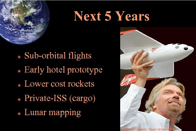 Next 5 Years Sub-orbital flights Early hotel prototype Lower cost rockets Private-ISS (cargo) Lunar