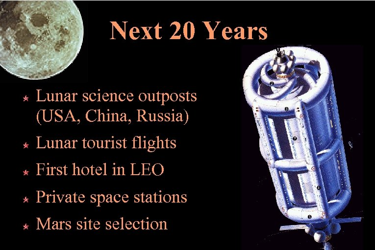 Next 20 Years Lunar science outposts (USA, China, Russia) Lunar tourist flights First hotel