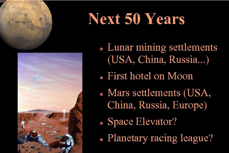 NASA and the US Geological Survey Next 50 Years Lunar mining settlements (USA, China,