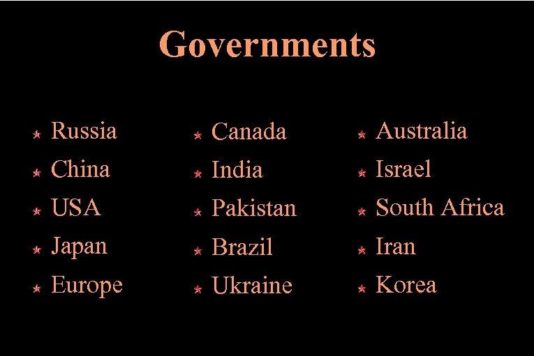 Governments Russia Canada Australia China India Israel USA Pakistan South Africa Japan Brazil Iran