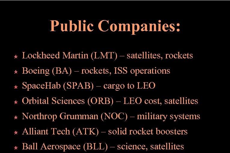 Public Companies: Lockheed Martin (LMT) – satellites, rockets Boeing (BA) – rockets, ISS operations