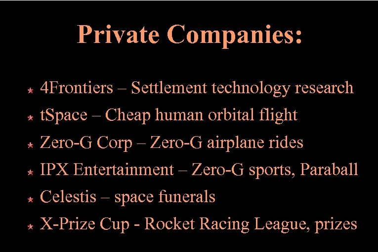 Private Companies: 4 Frontiers – Settlement technology research t. Space – Cheap human orbital