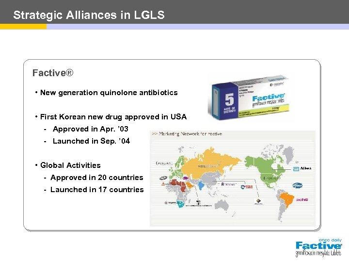 Strategic Alliances in LGLS Factive® • New generation quinolone antibiotics • First Korean new