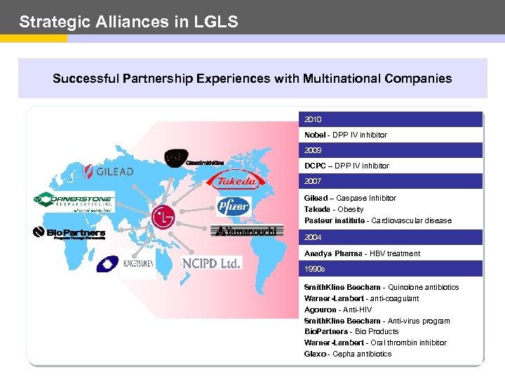 Strategic Alliances in LGLS Successful Partnership Experiences with Multinational Companies 2010 Nobel - DPP