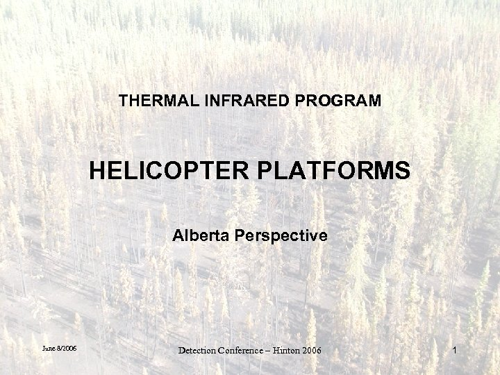 THERMAL INFRARED PROGRAM HELICOPTER PLATFORMS Alberta Perspective June 8/2006 Detection Conference – Hinton 2006