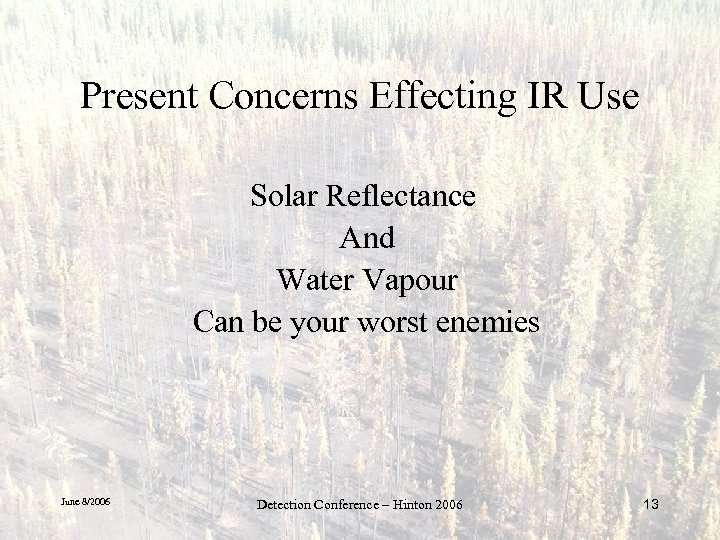 Present Concerns Effecting IR Use Solar Reflectance And Water Vapour Can be your worst