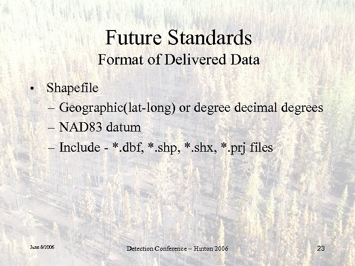 Future Standards Format of Delivered Data • Shapefile – Geographic(lat-long) or degree decimal degrees