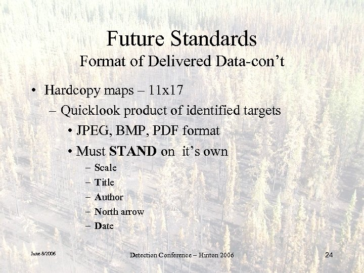 Future Standards Format of Delivered Data-con't • Hardcopy maps – 11 x 17 –