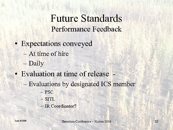 Future Standards Performance Feedback • Expectations conveyed – At time of hire – Daily