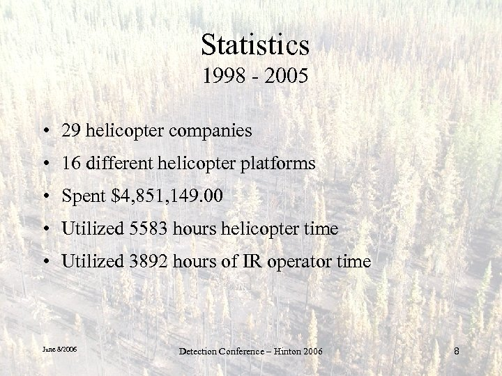 Statistics 1998 - 2005 • 29 helicopter companies • 16 different helicopter platforms •