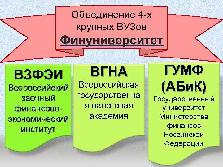 Объединение 4 -х крупных ВУЗов Финуниверситет ВЗФЭИ ВГНА Всероссийский Всероссийская государственна заочный я налоговая