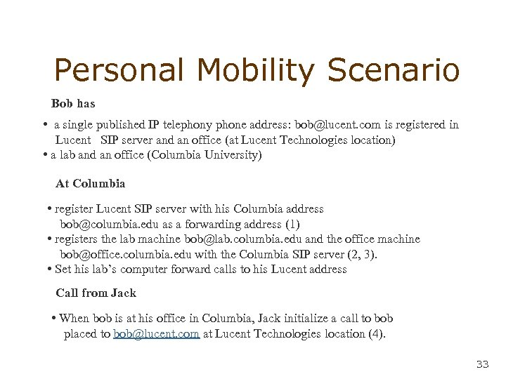 Personal Mobility Scenario Bob has • a single published IP telephony phone address: bob@lucent.
