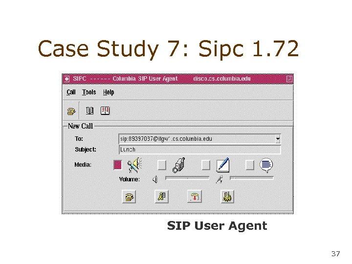 Case Study 7: Sipc 1. 72 • • SIP User Agent 37