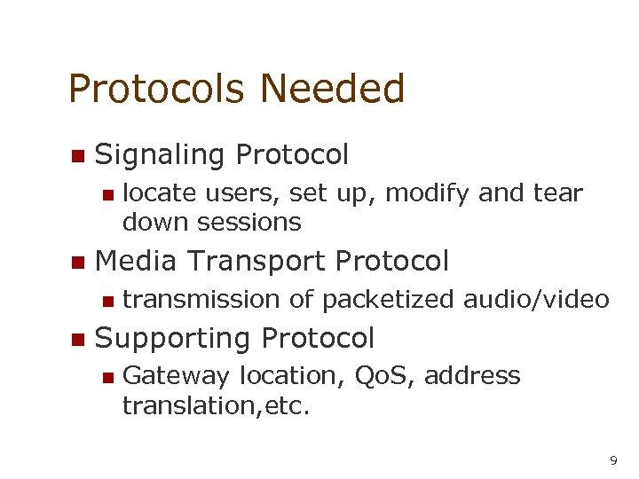 Protocols Needed n Signaling Protocol n n Media Transport Protocol n n locate users,