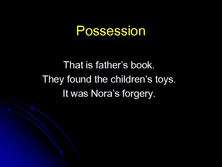 Possession That is father's book. They found the children's toys. It was Nora's forgery.