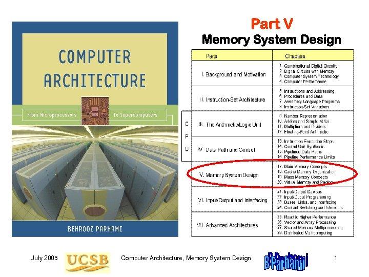 Part V Memory System Design July 2005 Computer