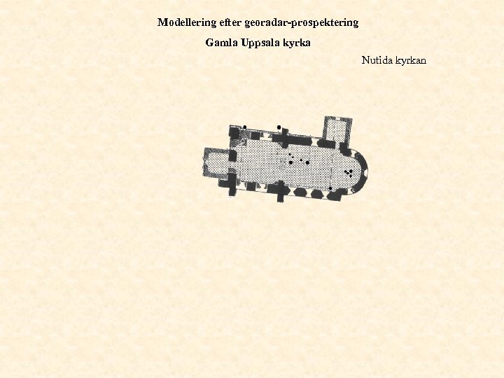Modellering efter georadar-prospektering Gamla Uppsala kyrka Nutida kyrkan