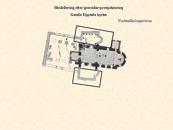 Modellering efter georadar-prospektering Gamla Uppsala kyrka Undersökningsytorna