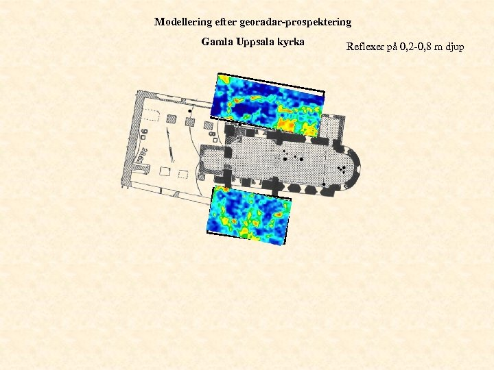 Modellering efter georadar-prospektering Gamla Uppsala kyrka Reflexer på 0, 2 -0, 8 m djup