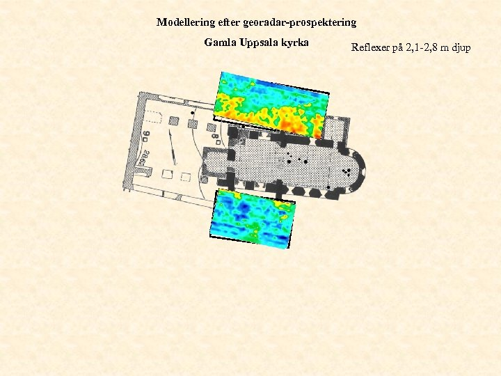 Modellering efter georadar-prospektering Gamla Uppsala kyrka Reflexer på 2, 1 -2, 8 m djup