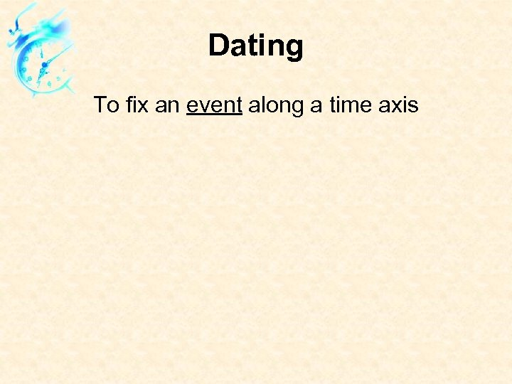 Dating To fix an event along a time axis