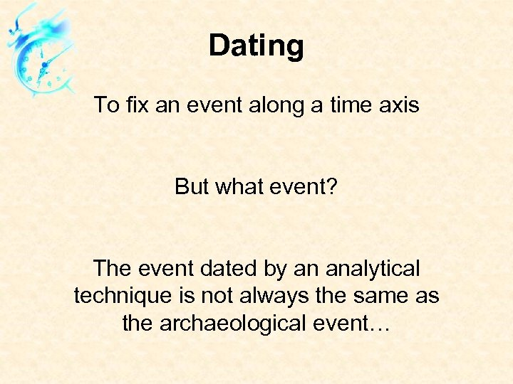 Dating To fix an event along a time axis But what event? The event