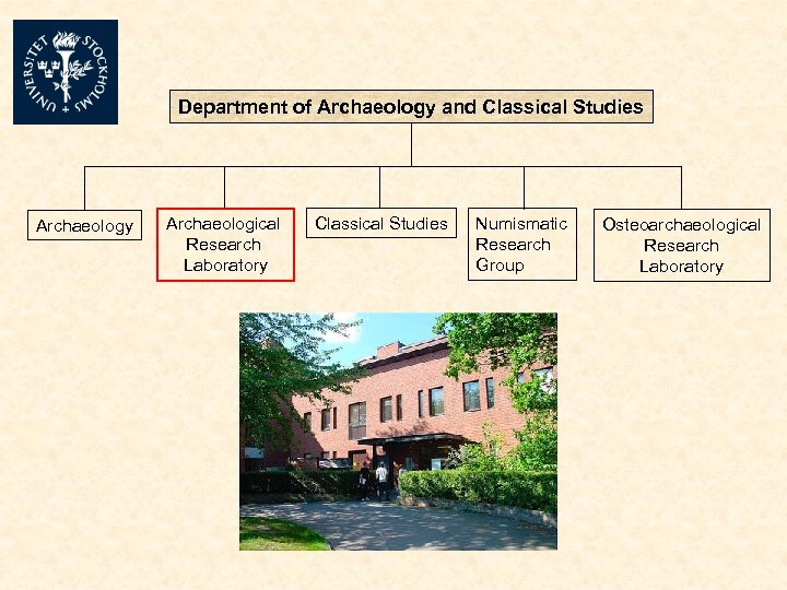 Department of Archaeology and Classical Studies Archaeology Archaeological Research Laboratory Classical Studies Numismatic Research